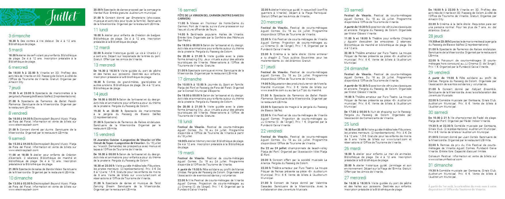 programme activités de juillet Vinaros