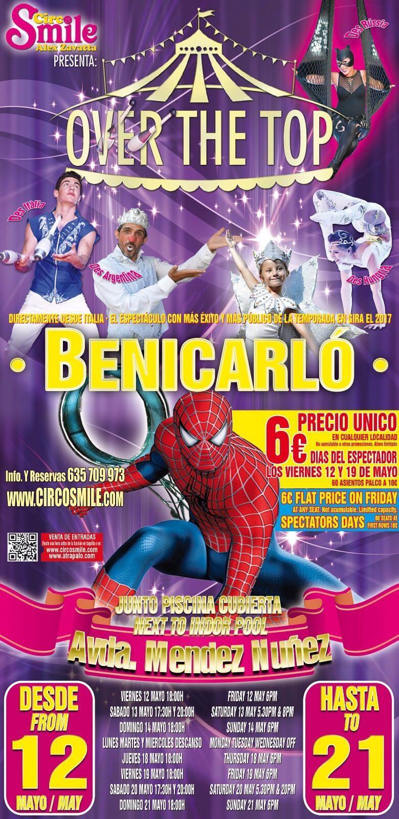 CARTEL ANUNCIO - CIRCO SMILE en BENICARLO del 12 al 21 Mayo 2017